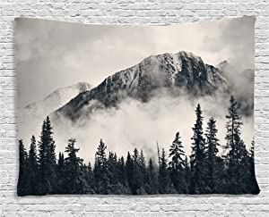 Ambesonne National Parks Home Decor Tapestry by, Canadian Smokey Mountain Cliff Outdoor Idyllic Photo Art, Wall Hanging for Bedroom Living Room Dorm, 60WX40L Inches, Black and White