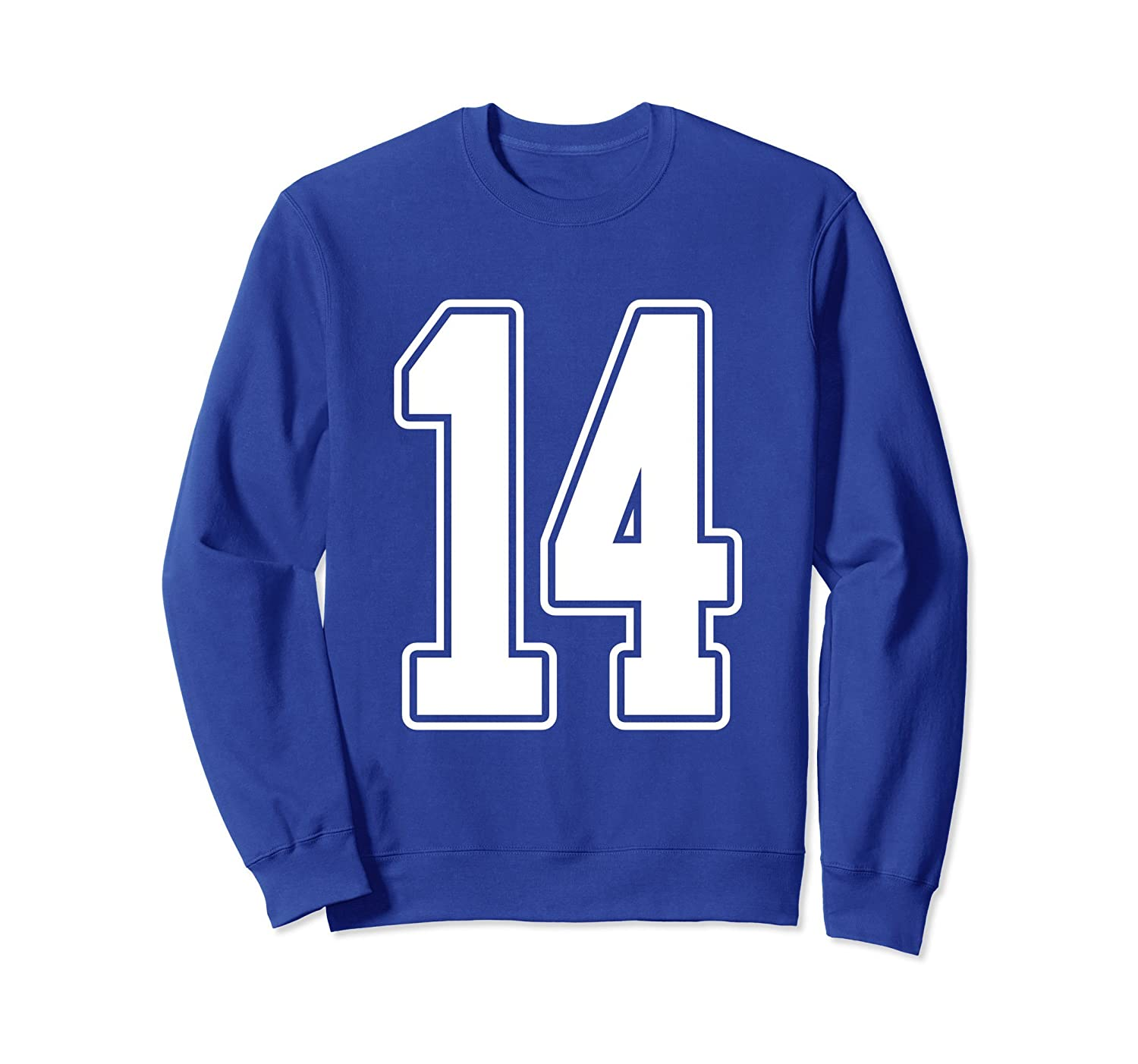 #14 White Outline Number 14 Sports Fan Jersey Sweatshirt-Rose