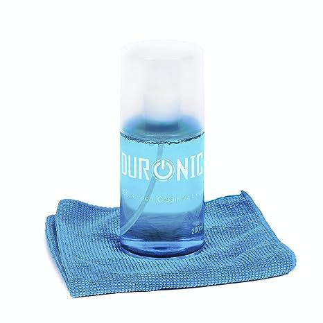 Duronic sck101 Limpiador de Pantallas 200 ml + Toalla de Microfibra + Limpieza de Manchas y