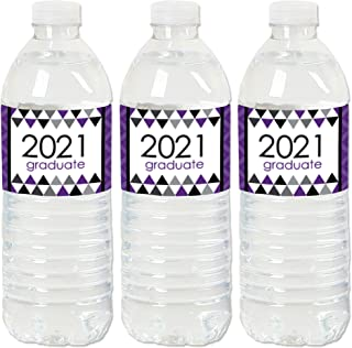 product image for Big Dot of Happiness Purple Grad - Best is Yet to Come - 2021 Purple Graduation Party Water Bottle Sticker Labels - Set of 20
