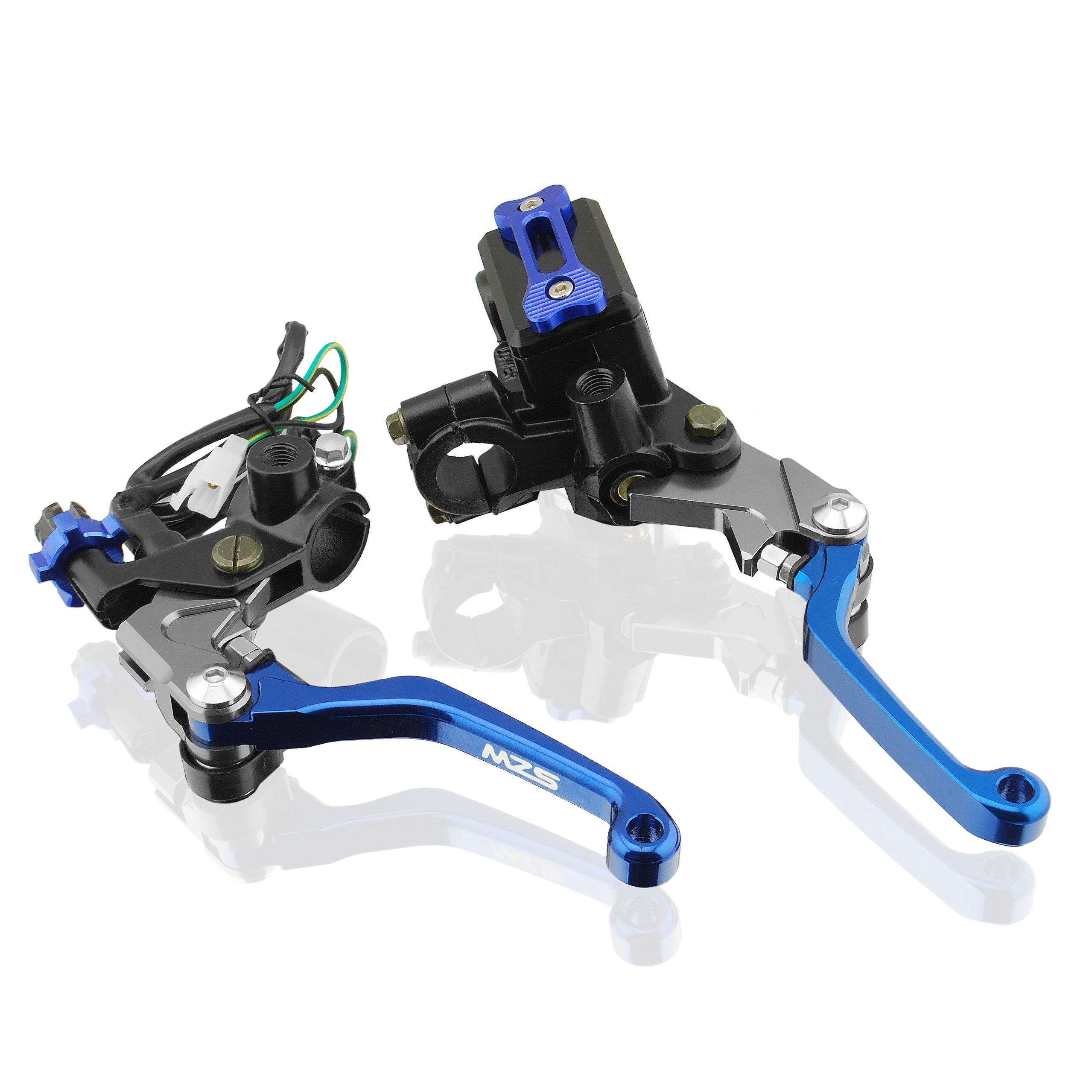 MZS 7/8'' Brake Master Cylinder Reservoir Pivot Levers for Honda Yamaha Suzuki Kawasaki KTM and more Blue