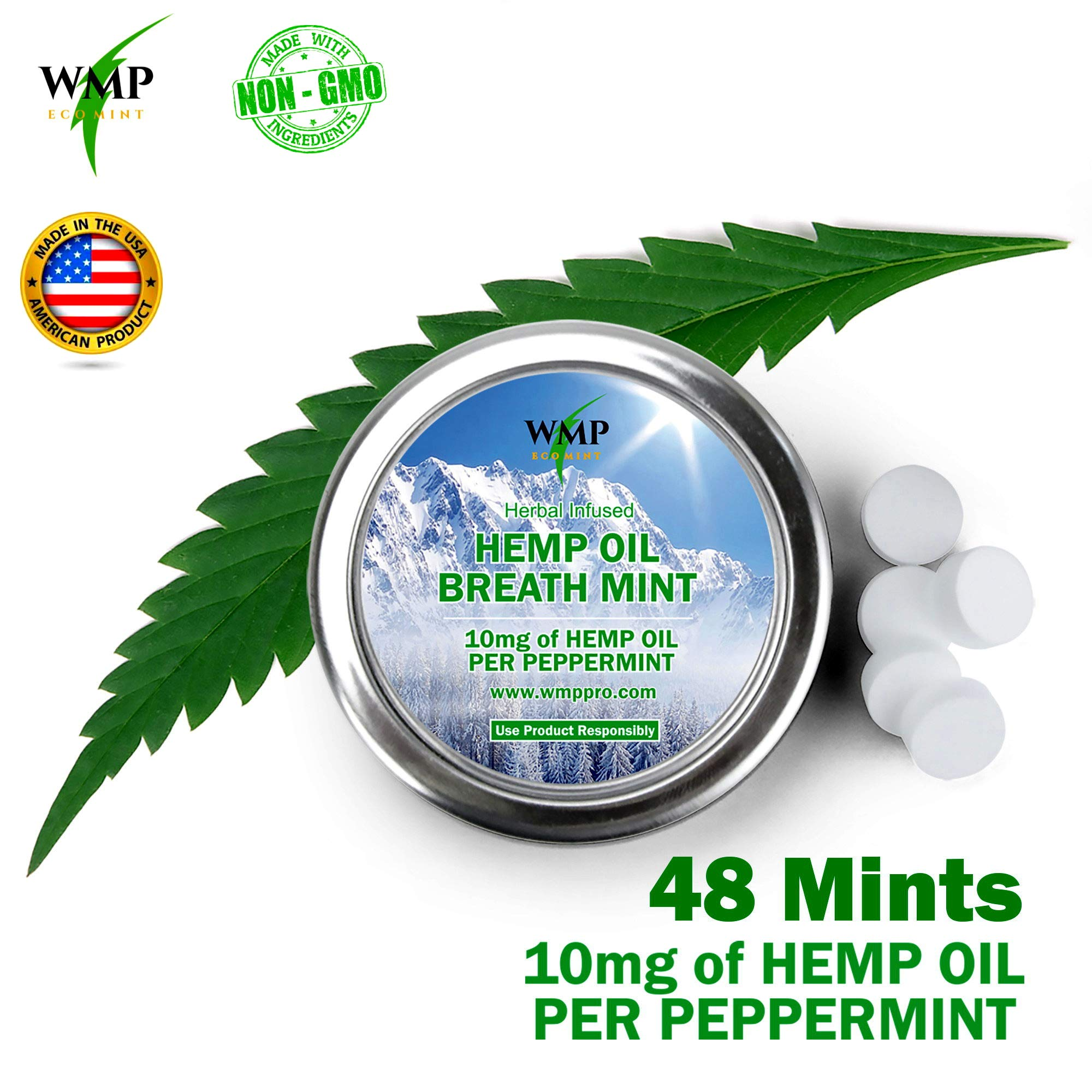 Premium Hemp Breath Mints - Organic Minty Edibles for Relaxing, Stress, Better Sleep, Pain, Anxiety Relief, Weight Loss - Peppermint Flavored Candies No THC, 0 Calorie - 2 Pack