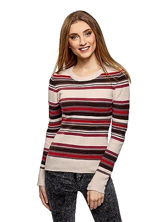 Modische mehrfarbigen Pullover mit einem Rundhalsausschnitt