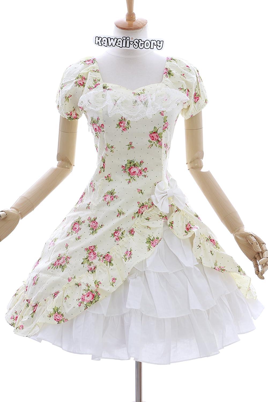 JL-572-4 Gelb Blumen Blumen Blumen Rosen Klassik Gothic Lolita Kleid Set Kostüm Cosplay (EUR S) 593131