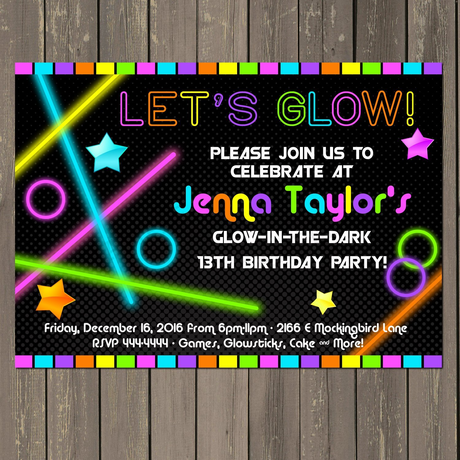 Glow In The Dark Themed Birthday Party Invitation Neon Set Of 10 5x7 Inch Invitations With White Envelopes