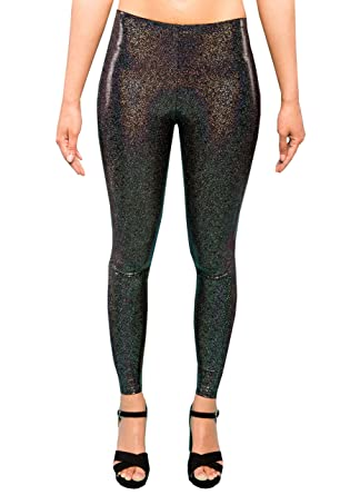 06a7cc0621ea7 Holographic Black Glitter Women's Leggings Ladies Party Tights Sparkly  Festival Pants EDM Clothing XS S M L XL XXL