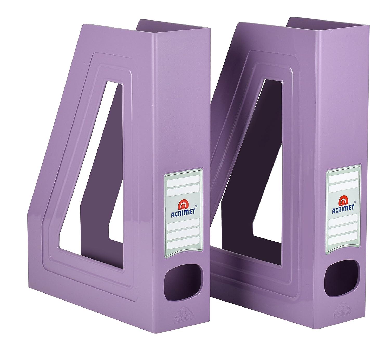 Acrimet Magazine File Holder (Solid Purple Color) (2 Pack) 277.L.O