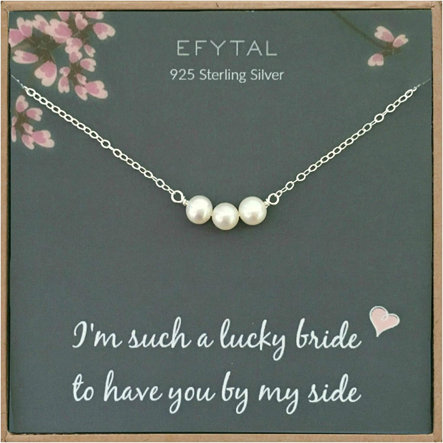 Amazon Com Efytal Bridesmaid Gifts 925 Sterling Silver Cultured Freshwater Pearl Necklace For Bridesmaids Bridal Party Gift From Bride Wedding Pendant Jewelry For Women Clothing