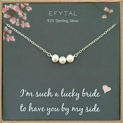 Bridal Party Gifts Bridesmaid Jewelry Gift Pearl Bridesmaid Necklace Real Pearl Necklace Silver NK1 Single Pearl Necklace in Silver