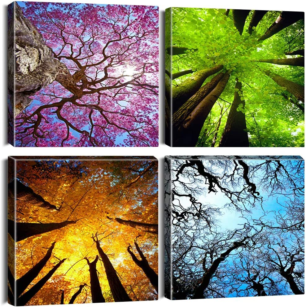 OTOSTAR 4 Pieces Canvas Prints Wall Art - Four Seasons of the Forest Picture Painting- Modern Wall Artwork Framed for Bathroom Home Office Decor - 12 x 12 Inch