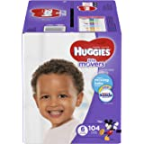 HUGGIES LITTLE MOVERS Diapers, Size 6 (35+ lb.), 104 Ct. (Packaging May Vary), Baby Diapers for Active Babies