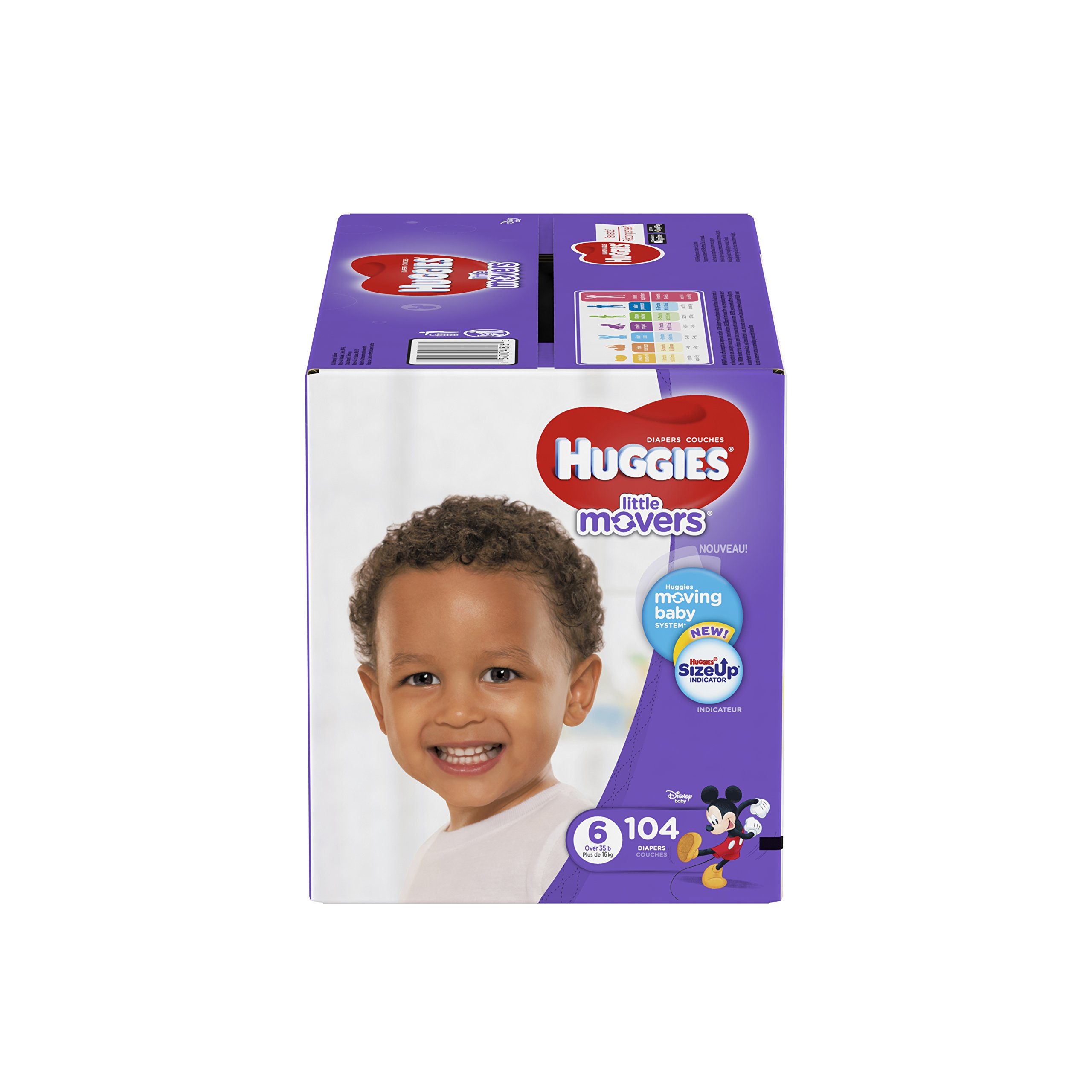 HUGGIES LITTLE MOVERS Diapers, Size 6 (35+ lb.), 104 Ct