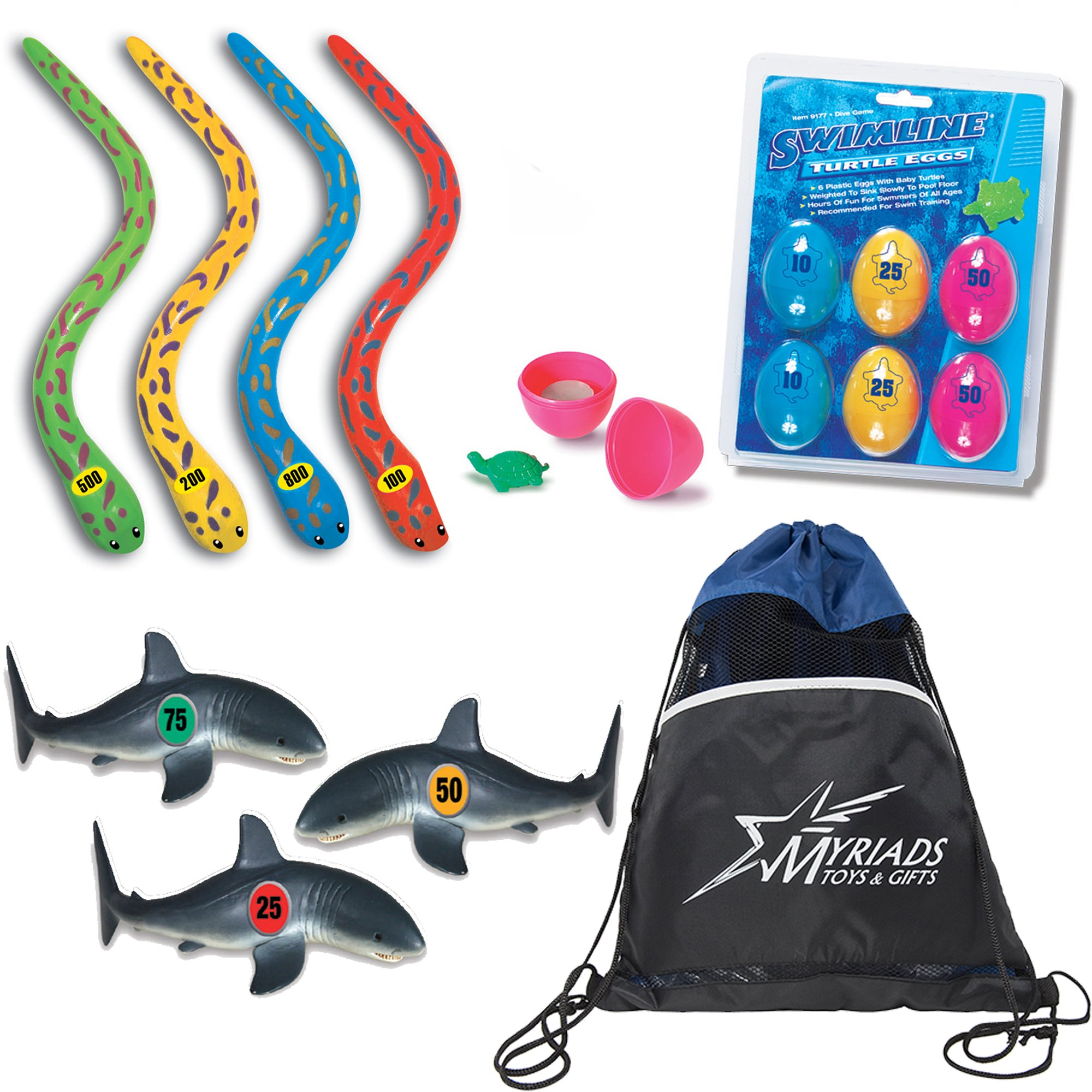 Swimline Underwater Swimming/Diving Pool Toys Set of 3: Turtle Eggs Dive Game, Eel Sticks Dive Game & Shark Frenzy Dive Game with a Drawstring Bag by Swimline