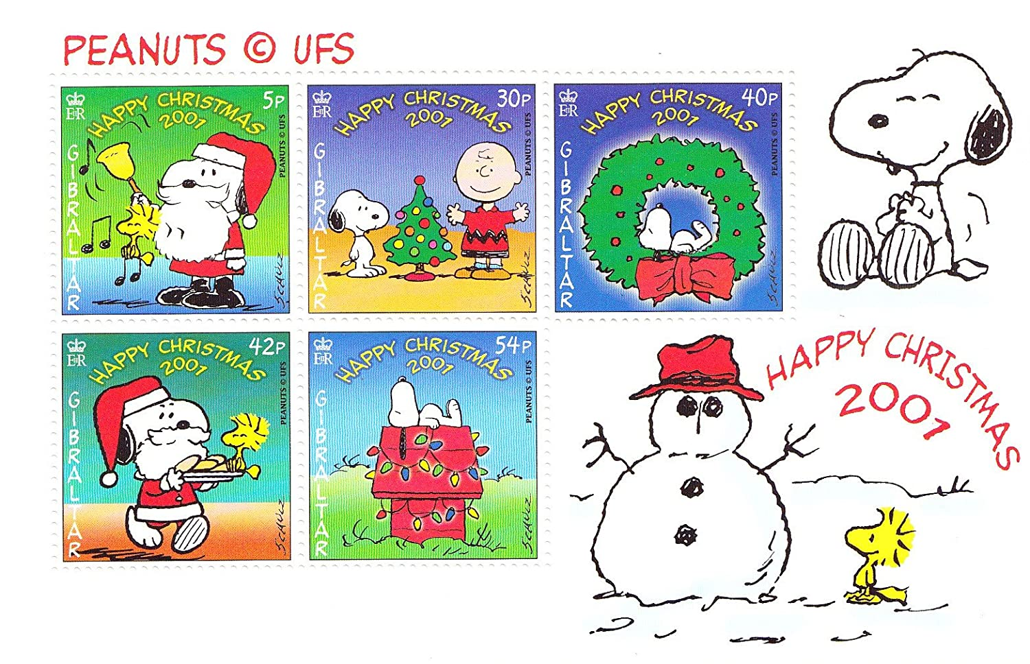 Christmas Stamps.Christmas Snoopy Charlie Brown Peanuts Collectible Postage Stamps 894a