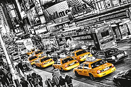 Wall Mural Photo Wallpaper Cabs Queue 12x84 Yellow Taxi