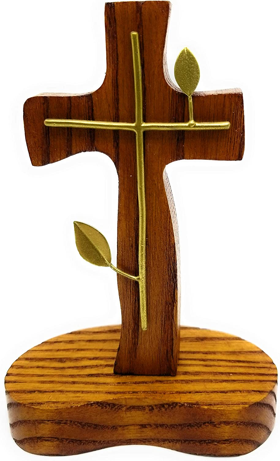 GoldenTBox Handmade Holy Standing Table Altar Wood Cross with Metal Detailing for Gift or Home Work Office Decor on Easter, Mother's Day, Father's Day, Christmas, Wedding Anniversary (Brass cross)