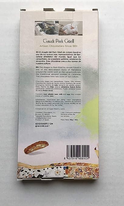 Gaudí Park Güell, Mundo artístico a través de chocolate artesanal con su máxima calidad, 72% cacao, Chocolate negro con galletas carquiñoles, 85g.