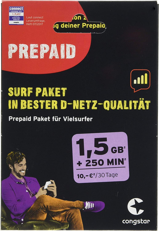 congstar Prepaid Surf Paquete [SIM, Micro SIM y Nano-SIM] – El Paquete de prepago para surfistas en la Mejor Calidad de Red D.: Amazon.es: Electrónica