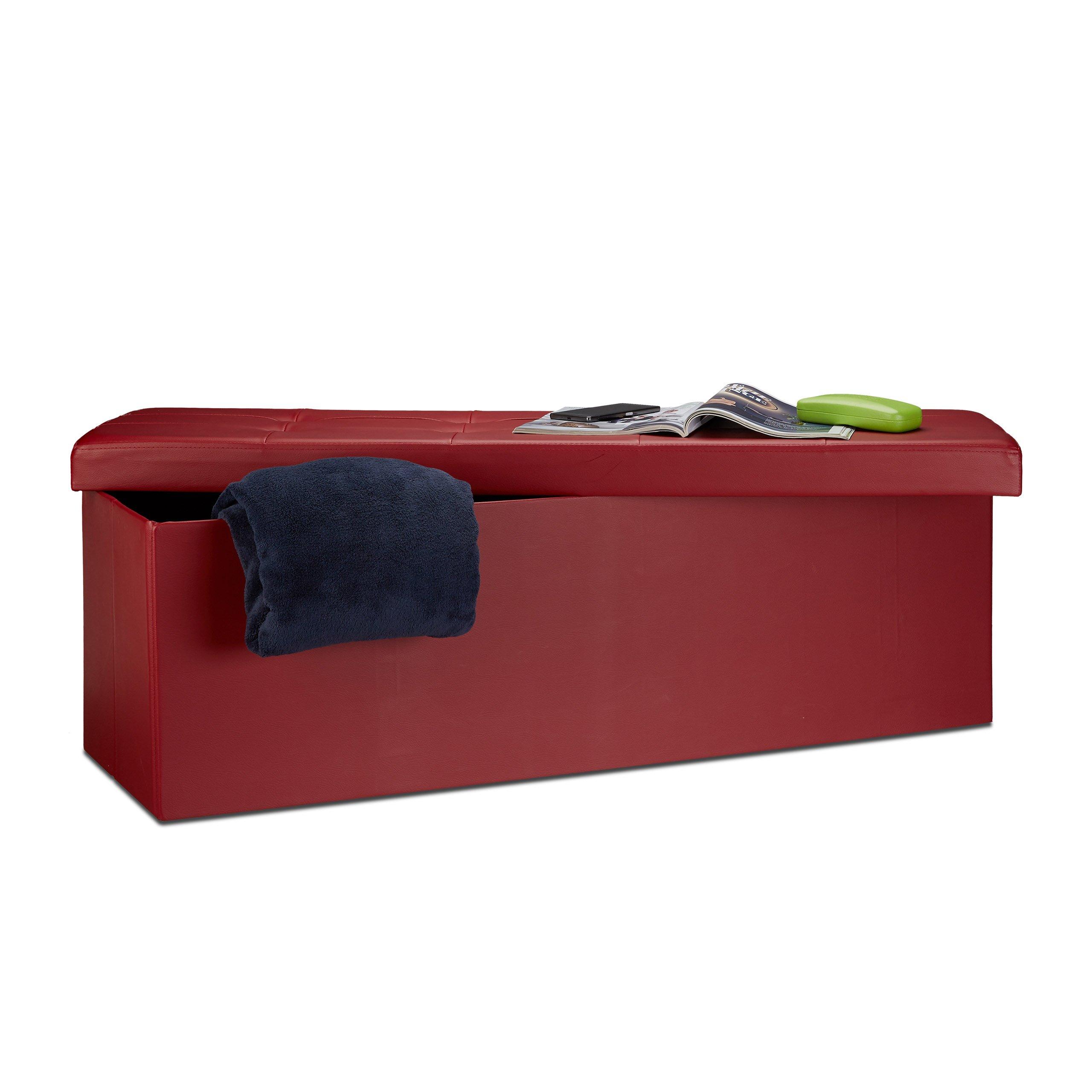 Relaxdays 10019045_708 Sgabello Pieghevole Cassapanca Pouf, Tessuto, Rosso Scuro, 114 x 38 x 38 cm, product image