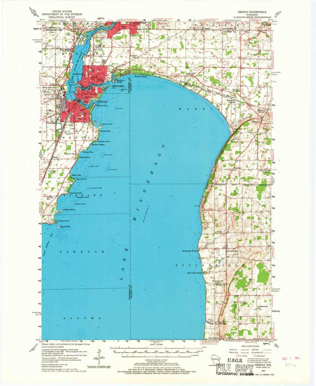 Amazon Com Yellowmaps Neenah Wi Topo Map 1 62500 Scale 15 X 15