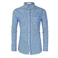 Clearlove Trachtenhemd Herren Hemd Slim Fit Kariert Freizeithemd - für Oktoberfest & Freizeit & Business