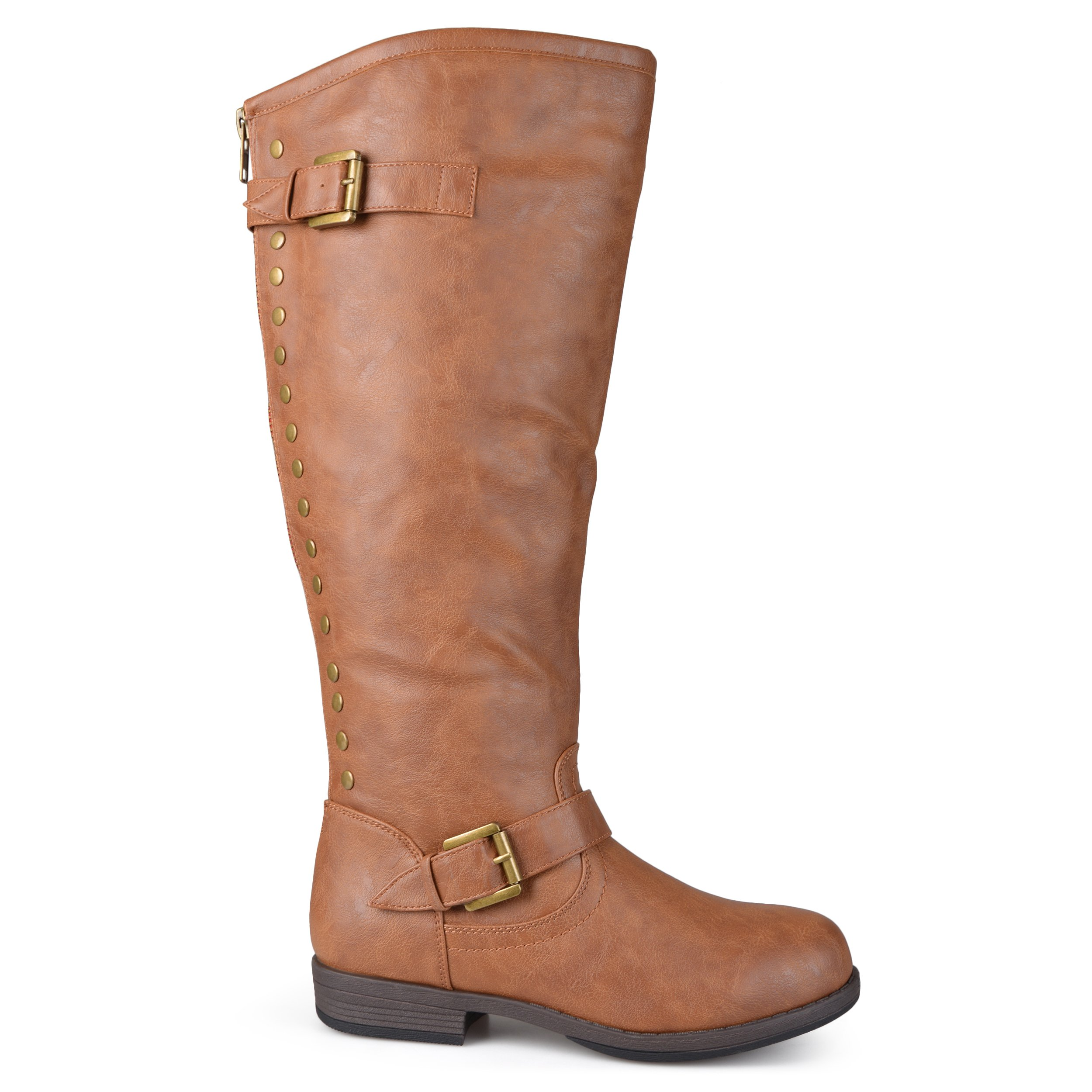 Brinley Co Womens Extra Wide Calf Knee-high Studded Riding Boots Chestnut, 7.5 Extra Wide Calf US