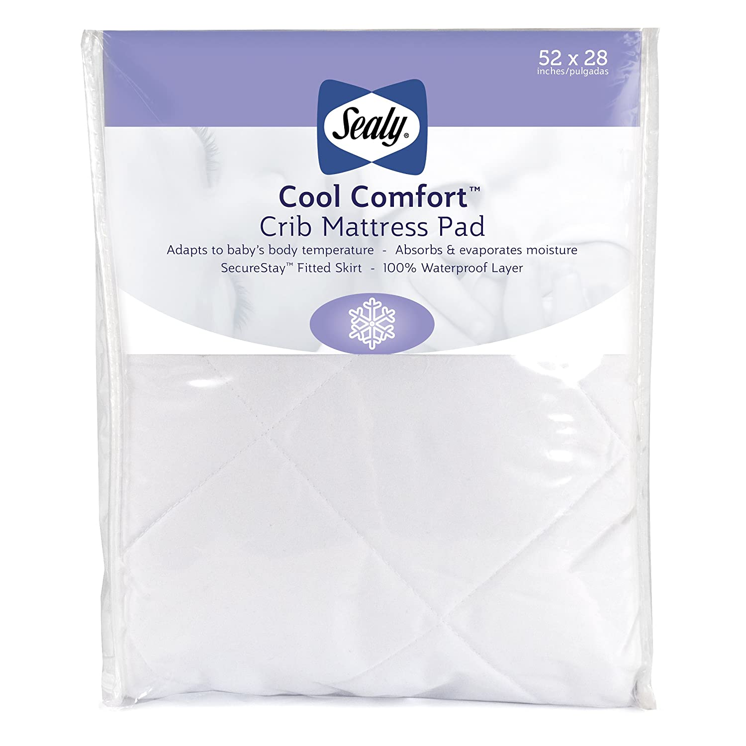 """sports shoes ab901 31887 Sealy Cool Comfort Fitted Hypoallergenic Toddler & Baby Crib Mattress  Pad/Protector - 100% Waterproof Layer, White, 52"""" x 28"""""""
