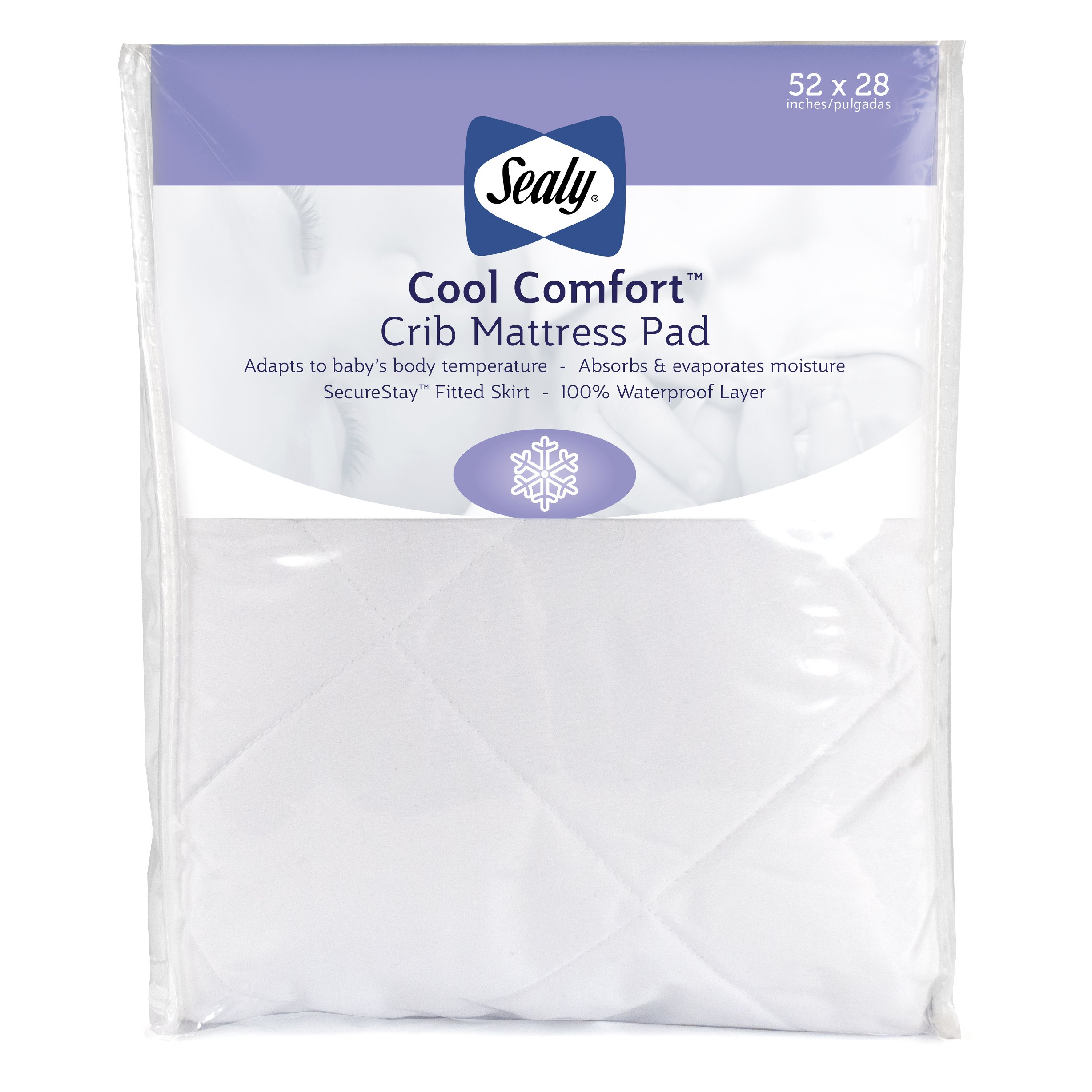 "Sealy Cool Comfort Fitted Infant/Toddler Crib Mattress Pad - Moisture Wicking, 100% Waterproof Layer, Hypoallergenic, Deep Fitted Skirt, Machine Washable & Dryer Friendly 52""x28"" (White)"