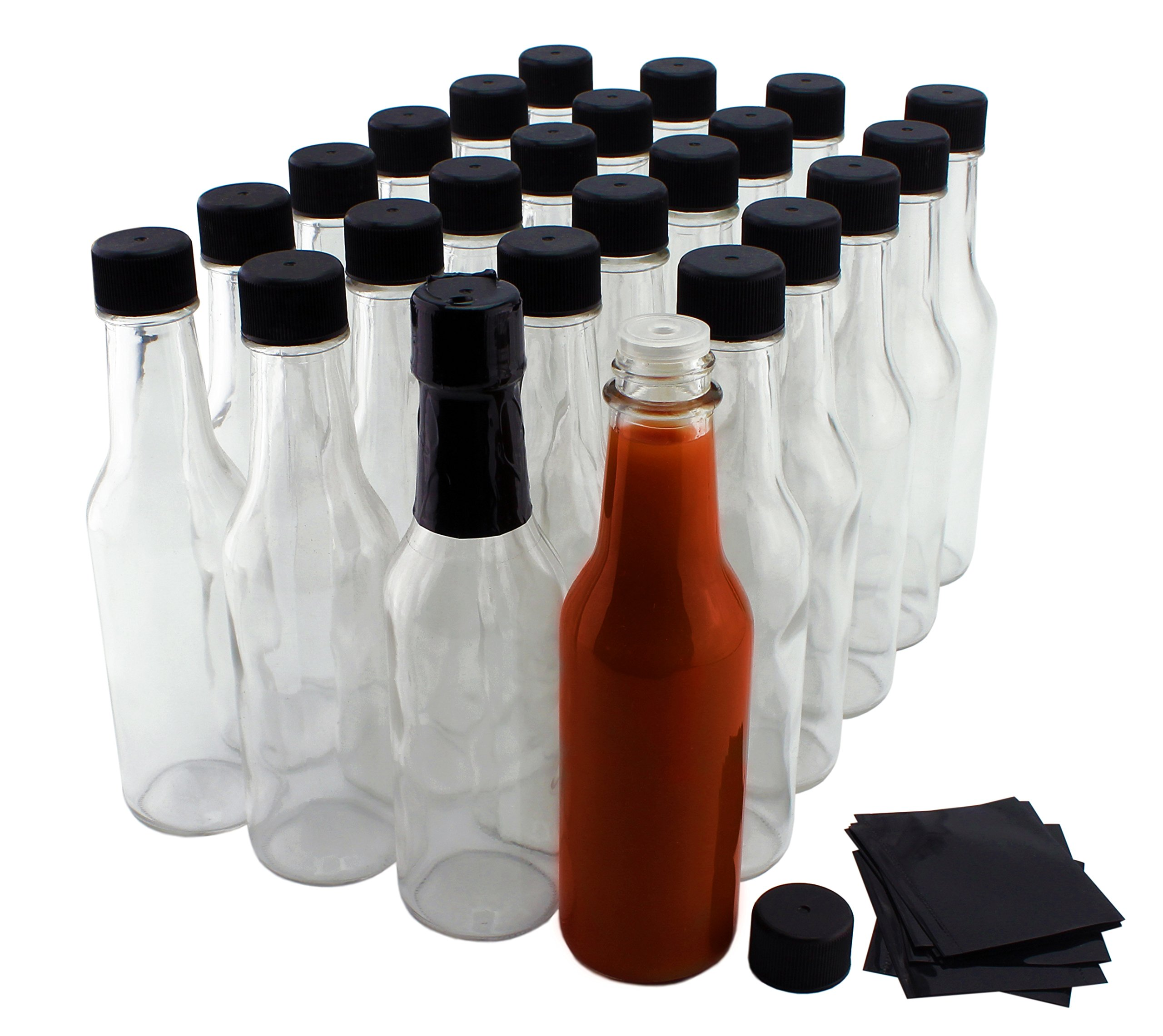 5-Ounce Hot Sauce Bottles (24-Pack), Clear Glass Woozy Bottles Set w/Black Caps, Dripper Inserts & Shrink Bands