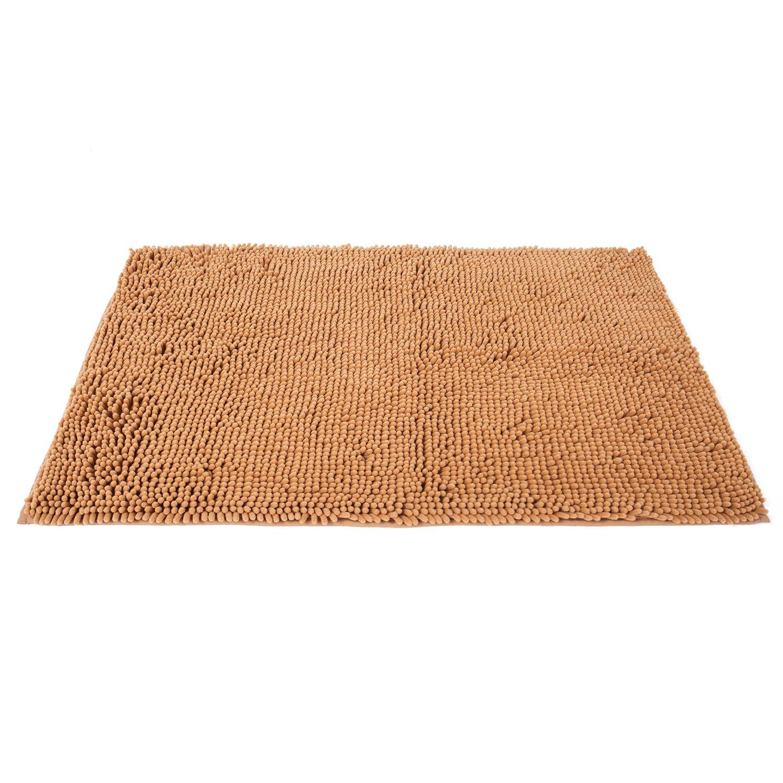 Pauwer Chenille Bad Teppiche Rutschfeste Saugfähig Dusche Teppich Waschbar  Bad Teppich Für Badezimmer, Khaki, 60 * 90cm