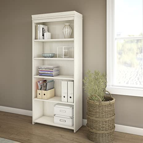 fairview 5 shelf bookcase in antique white