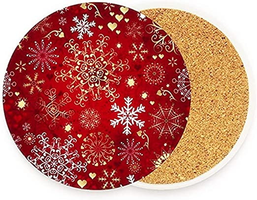 Amazon Com Christmas Gold Red Snowflake Coasters For Drinks Set