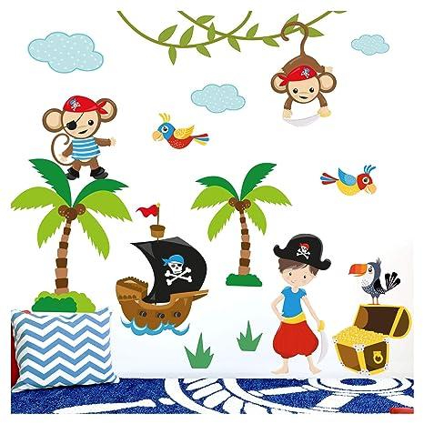 Little Deco Aufkleber Affen Piraten Schiff IS - 57 x 41 cm (BxH) I  Wandbilder Wandtattoo Kinderzimmer Jungen Tiere Deko Jungs Babyzimmer Junge  Baby ...