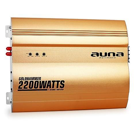auna Goldhammer Amplificador para Coche de 2 Canales (2.200 W Potencia máxima, Super Bass