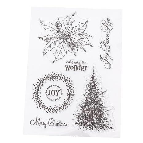merssavo sello silicona transparente molde recortes para decorar tarjetas Navidad Hojas Scrapbooking Regalo Niño 11 x