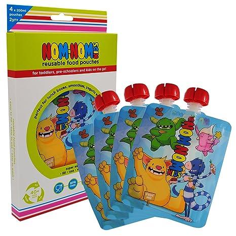 Nom Nom Kids 200ml MONSTER bolsas de comida para bebés y ...