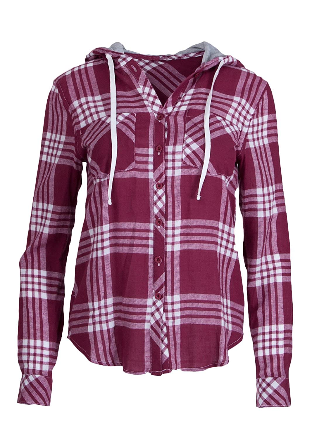 50%OFF Ladies Flannel Plaid Drawstring Button-up Hoodie, Multiple Colors