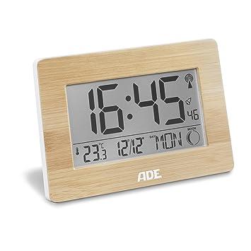 ADE Funkuhr CK 1702. Digitale Uhr mit DCF Zeitsignal, Gehäuse mit echtem Bambus, LCD-Display, Thermometer, Wecker und Kalende