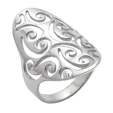 cdb439d11 Image Unavailable. Image not available for. Color: Silverly Women's .925  Sterling Silver Open Filigree Swirl Spiral Pattern Long Thumb 30mm Ring