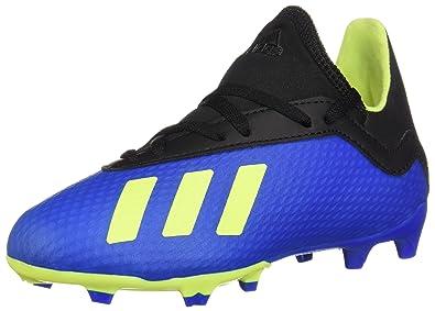 big sale 5c614 8885f adidas Unisex X 18.3 FG J Soccer Shoe Football Blue Solar Yellow core Black
