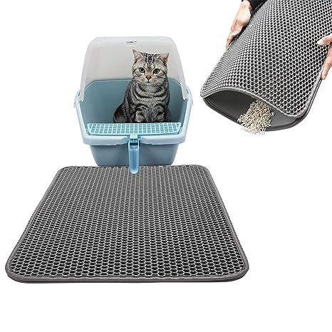 Plenmor - Alfombrilla de Arena para Gatos, Mejor Alfombra para Gatos de Doble Capa, para Comer Gatos, ...