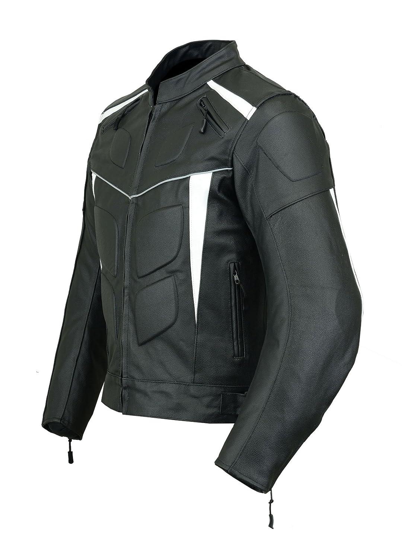 Giacca corazzata da uomo LJ-4012 in pelle altamente protettiva colore: nero e bianco per motocicletta sportiva