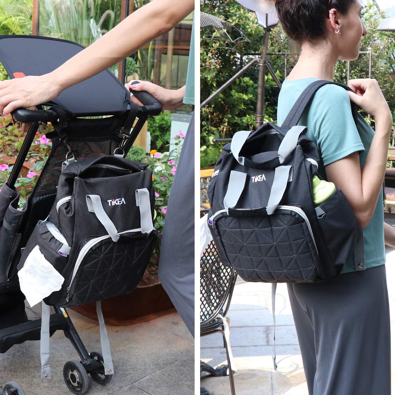 Multifunktional Mama Rucksack mit Wickeltasche Babytasche mit Kinderwagenhaken und Isolierte Milchflaschenhalter Grau Tikea Baby Wickelrucksack Gro/ß Diebstahlschutz Wasserdicht und Stilvoll