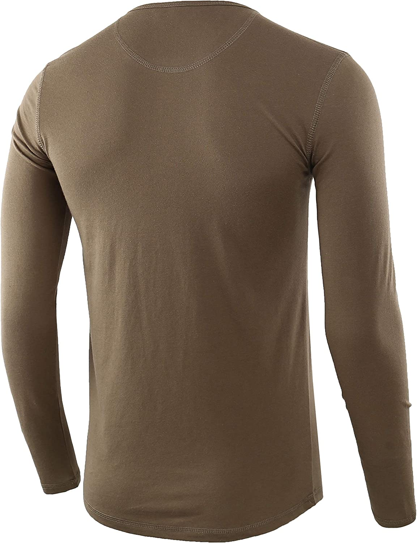 HARBETH Mens Regular Fit Long Sleeve Athletic Henley Shirt Active Jerseys Tee