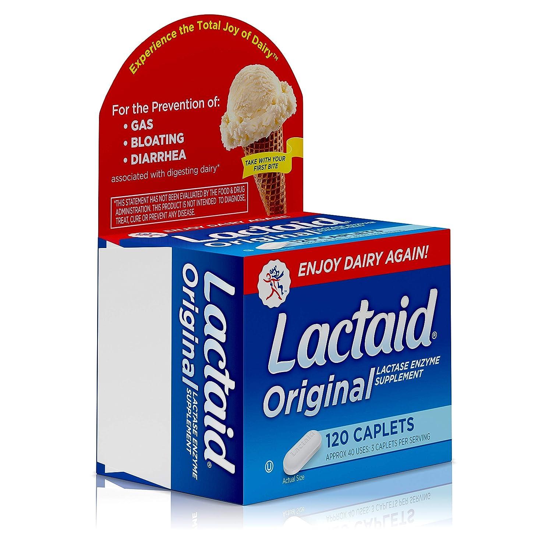Lactaid Caplets, Lactase Enzyme Supplement, 120-Count Box: Amazon.es: Salud y cuidado personal