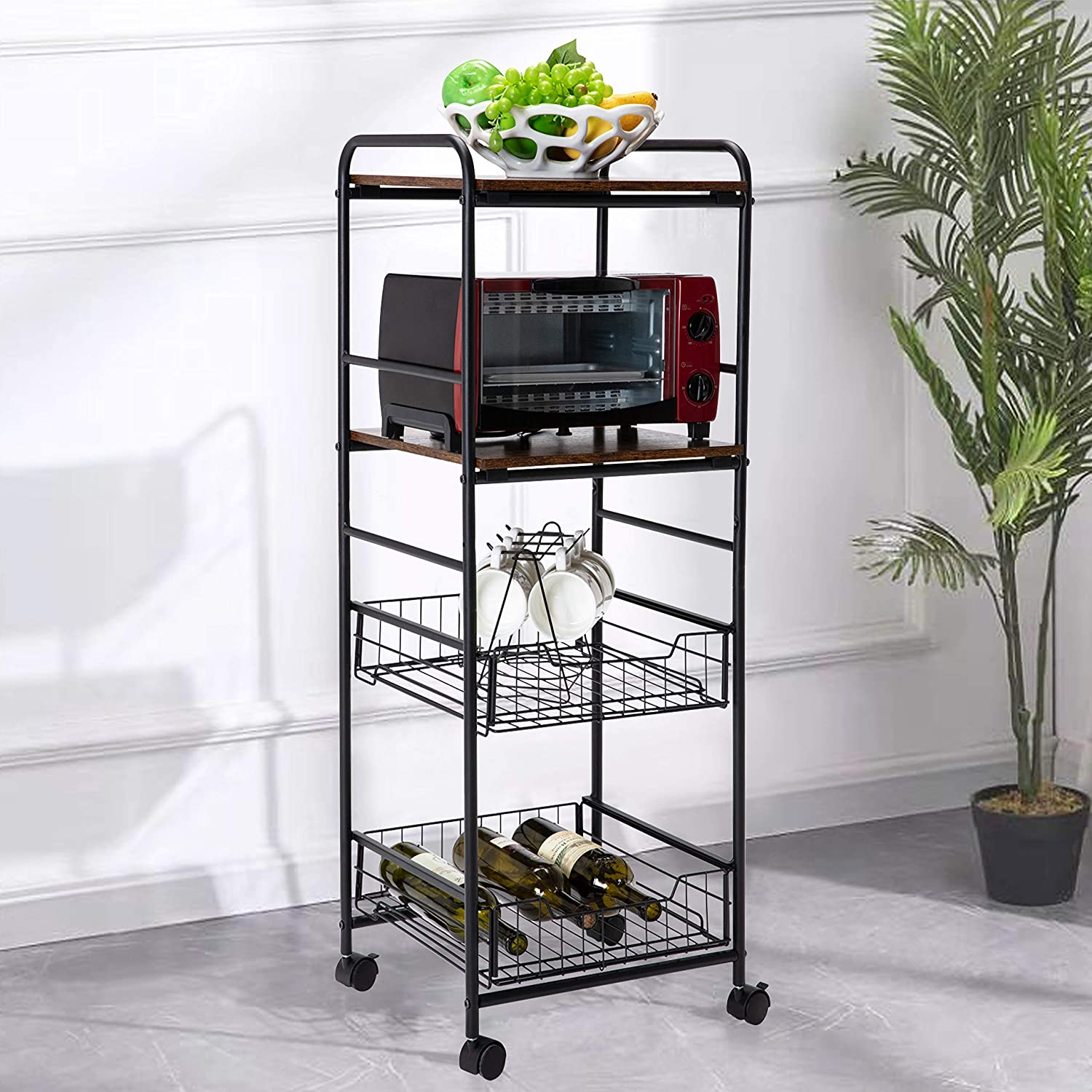 4-Tier Rolling Kitchen Cart, Utility Serving Cart Trolley, Microwave Stand Storage on Wheels with Wire Baskets