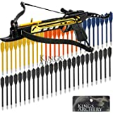Crossbow Self-Cocking 80 LBS by KingsArchery® with Adjustable Sights, 3 Aluminium Arrow Bolts, and Bonus 60-pack of Colored PVC Arrow Bolts + KingsArchery® Warranty