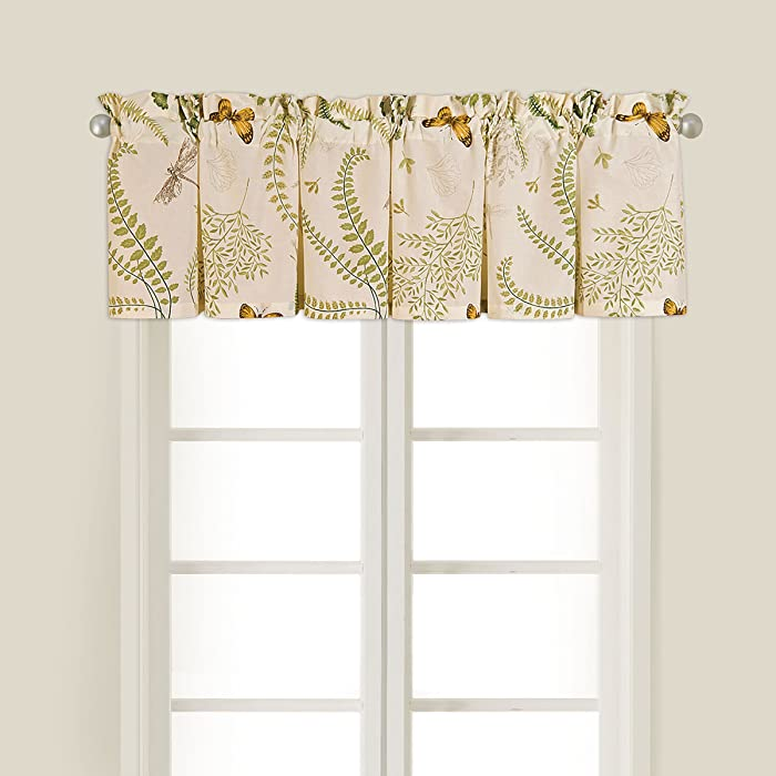 C&F Home Althea Green Floral Botanical Garden Spring Easter Summer Cotton Bedroom Guestroom Premium Window Valance Valance Green