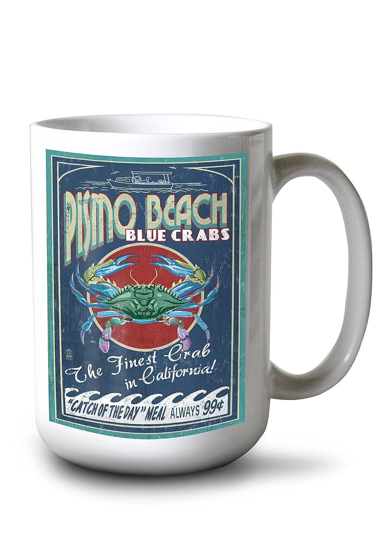 Pismoビーチ、カリフォルニア – Blue Crabs Vintage Sign 15oz Mug LANT-3P-15OZ-WHT-37058 B0784PPMKP  15oz Mug