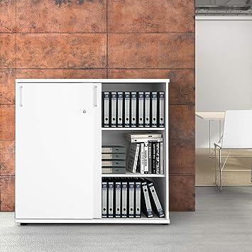Büroschrank abschließbar  Uni Aktenschrank 1,2M abschließbar 3OH Weiß Büroschrank Schiebetürenschrank